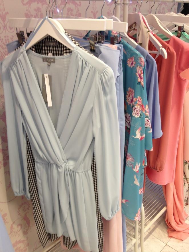 LOVE Powder Blue Long Sleeve Wrap Front Dress