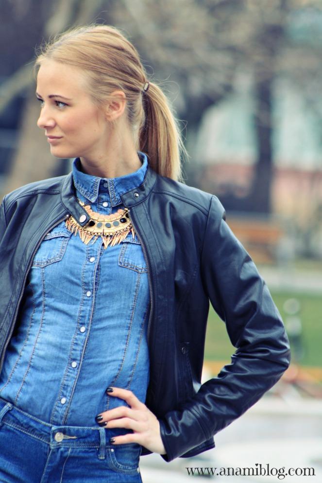 streetstyle, statement necklace, denim shorts, chambray, csilla suke