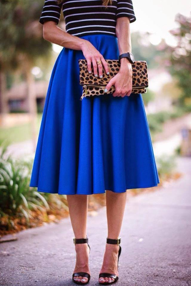 Long midi skater skirt | Global trend skirt blog