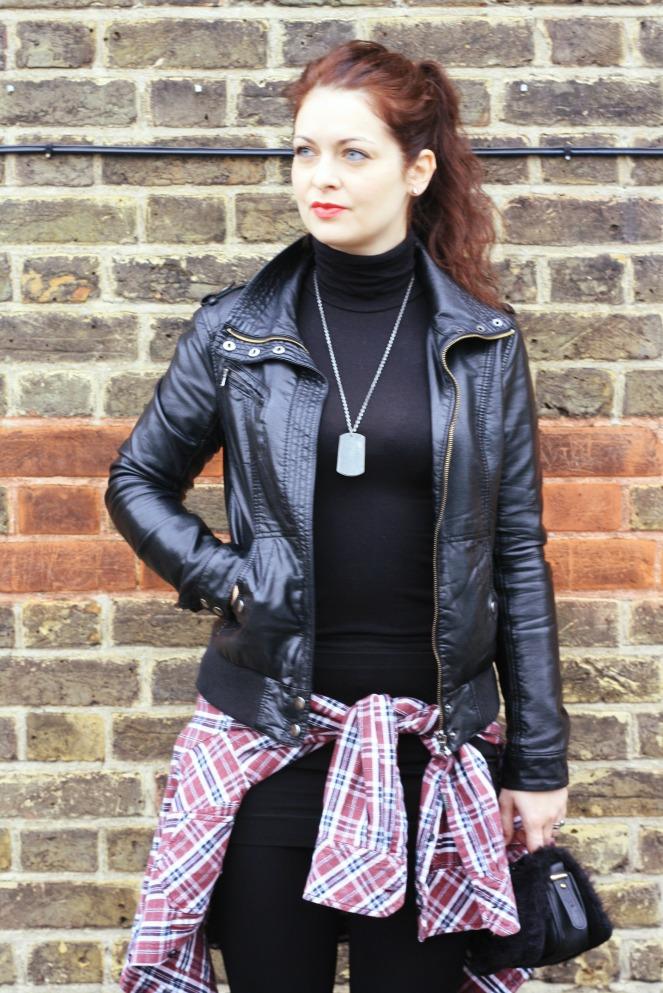 anami, ootd, personal style, leather jacket, boyfriend shirt, london