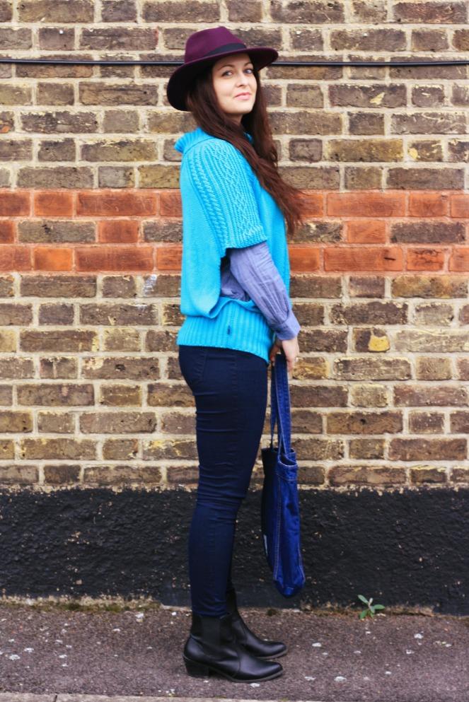 purple hat, suel knitwear, ootd, outfit, H&M, new look