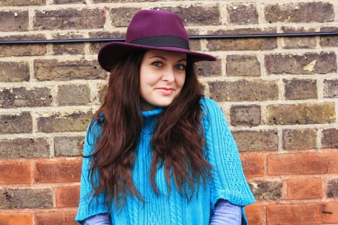 purple hat, suel knitwear, ootd, outfit