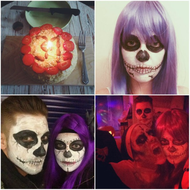 birthday cake, halloween, sugar skull make up, party