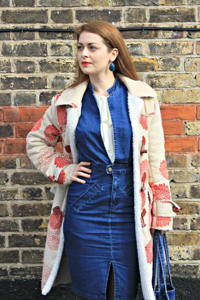anamiblog, lfw outfit, boohoo, warehouse, denim, 70s trend, reka vago shoes