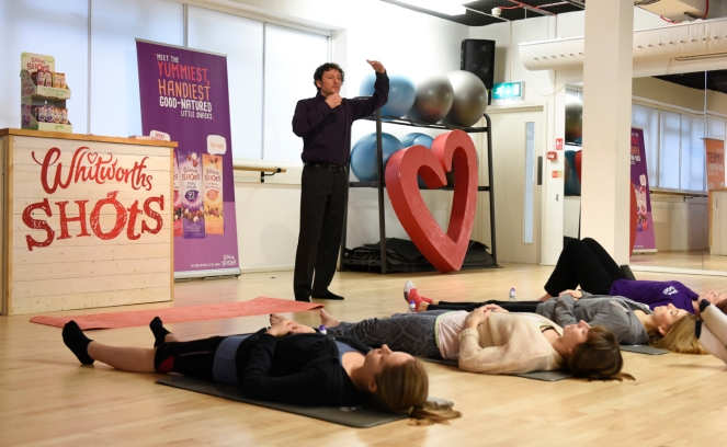 Hypnotherapist Darren Marks uses his hypnotic techniques on  Willpower Workout class-goers